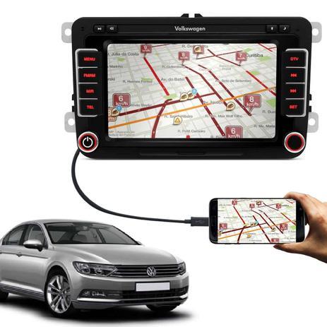 Imagem de Central Multimídia Passat 14 a 18 7 Pol Espelhamento Android iOS TV Digital Bluetooth GPS USB AUX SD