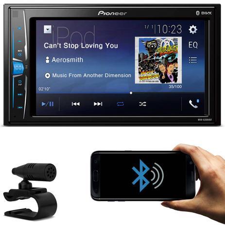 Imagem de Central Multimídia Receiver Pioneer MVH-A208VBT 2 Din Tela 6.2 Pol Touch Bluetooth USB AUX RCA MP3