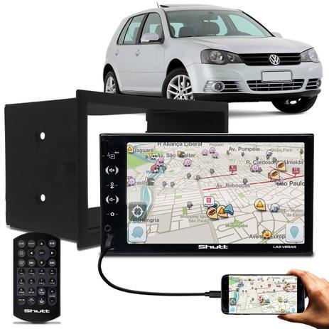 "740cc274a Central Multimídia Shutt Las Vegas 7"" USB Android IOS + Moldura Polo Fox  Bora Ecosport Fiesta Golf"