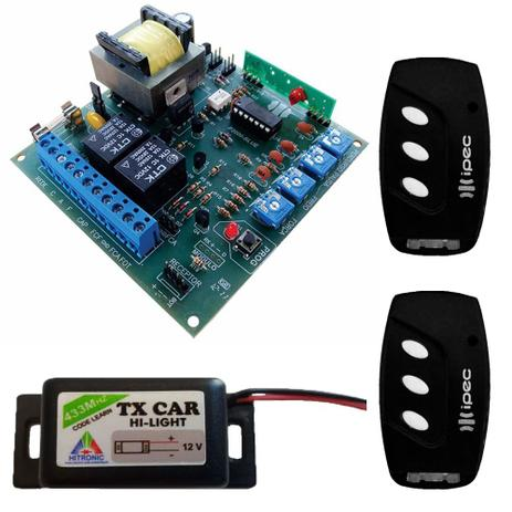 Imagem de Central Placa Portão Eletrônico Motor Peccinin + 2 Controles 3 Canais com Clip de Fixação + 1 Controle Tx Car Farol Alto Carro e Moto