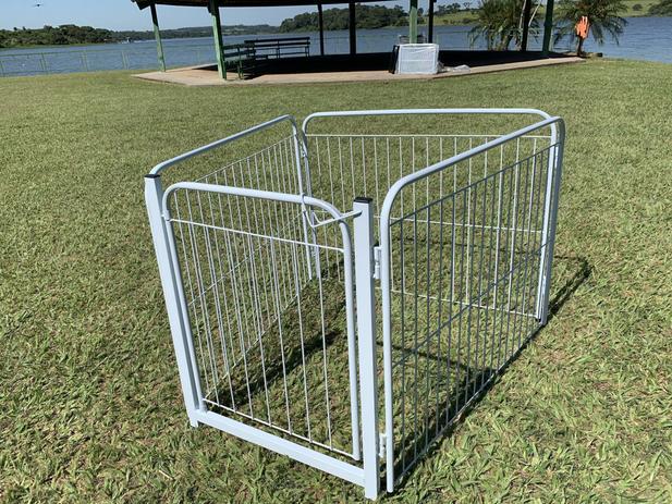 Imagem de Cercado Cães Canil  Pet Util 3/90 Com Portão Branco