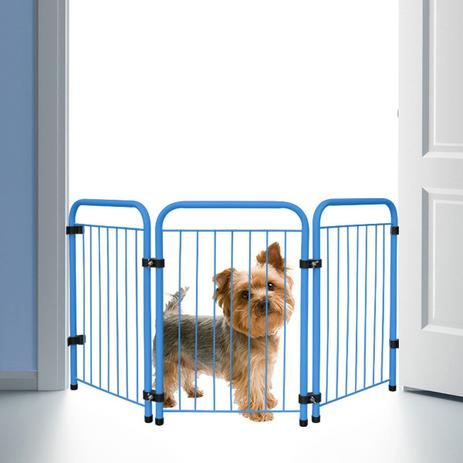Imagem de Cercado Cercadinho Pet Cachorro Portátil Dobrável Azul