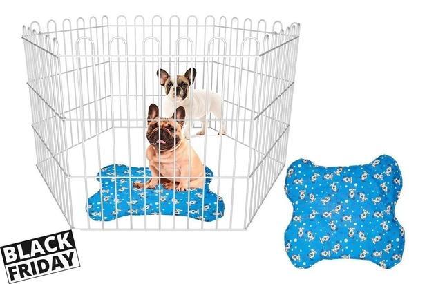 Imagem de Cercado P/ Cachorro Pets Cães Pequenos Animais Domésticos + Tapete