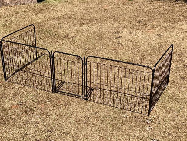 Imagem de Cercado Para Cachorro Coelho Canil Cercado Pet Util 4/90 Portão e Kit Preto