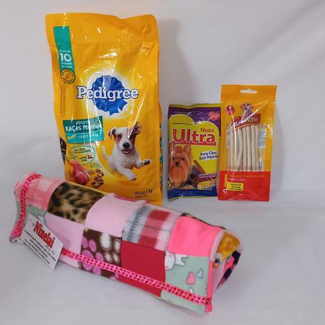 Imagem de Cesta Básica Pet para cachorros - Kit ração, petiscos acessórios rosa