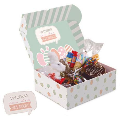 Imagem de Cesta na caixa feliz páscoa m 33x23x10cm cromus