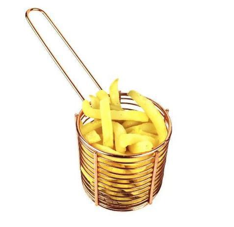 Imagem de Cestinha Redonda Para Servir Porção e Batata Frita Bronze - Mimo