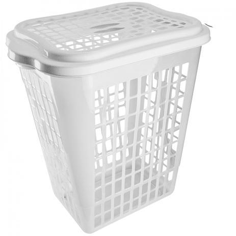 Cesto para Roupas Organizador Telado Retangular 46 Litros Plástico Durin  Utilidades Domésticas Durin Branco