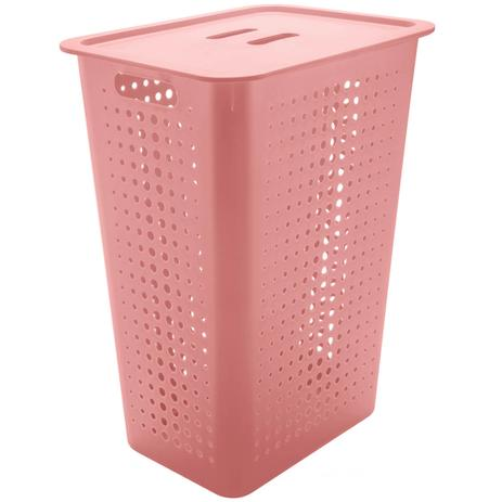 Imagem de Cesto Para Roupas Suja para Banheiro 47 Litros Plástico Rosa Quartzo