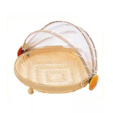 Imagem de Cesto Porta Pão e Bolo Bambu com Cobertura Retrátil - P