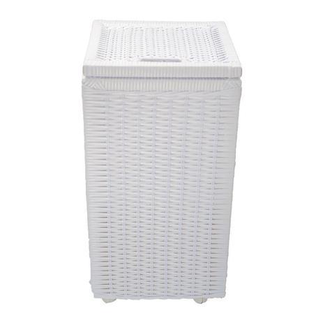Imagem de Cesto roupa suja roupeiro fibra sintetica junco branco 30x30x57