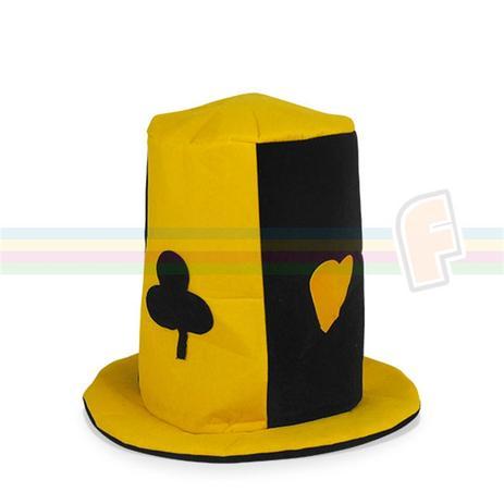 Chapéu Cartola Coringa Naipes de Baralho Amarelo - Festabox ... 086d5494ec9