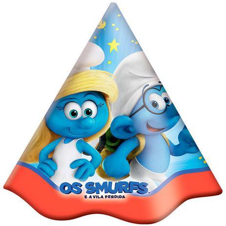 Chapéu de Aniversário Smurfs 08 unidades Festcolor - Chapéu de ... 1b86849335c