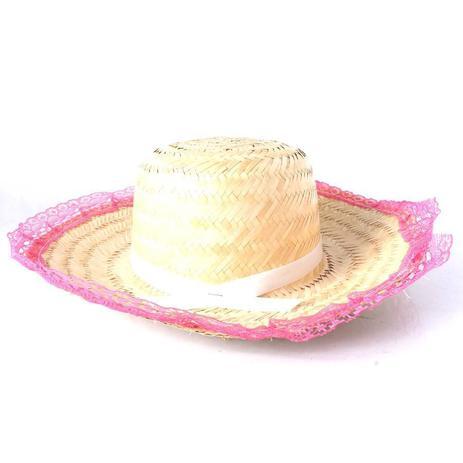 Chapéu de Palha com Renda Festa Junina Feminino - Sortidos - Aluá festas 95775f4dddf