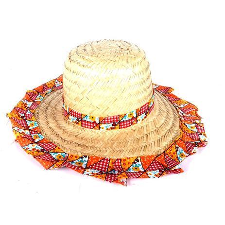 Chapéu de Palha com Tecido Colorido Festa Junina Feminino - Aluá festas 62ea203e003