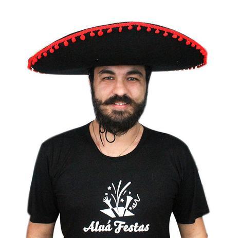 Chapéu Mexicano Sombrero - Preto - Aluá festas - Artigos para Festa ... 69425bb2d86