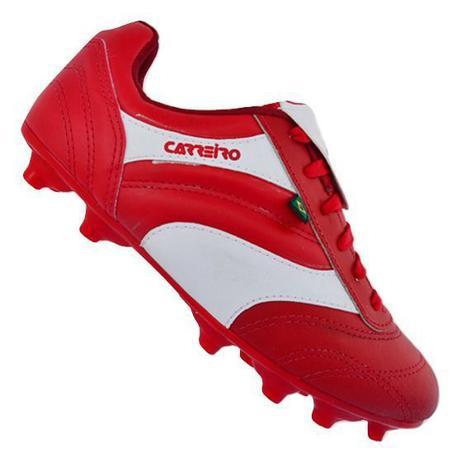 f37cd0513d Chuteira de Couro Futebol Campo Carreiro Cayenne Vermelho Branco ...