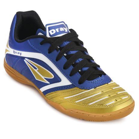a523da73b4c90 Chuteira Futsal Dray Topfly IV Infantil 363 - Marinho Ouro ...