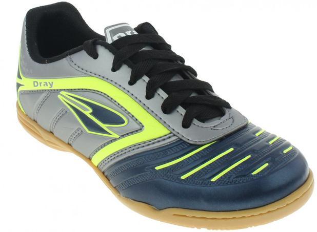 f8520f40064a6 Chuteira Futsal Dray Topfly IV Infantil - Chumbo Verde - Tênis de ...