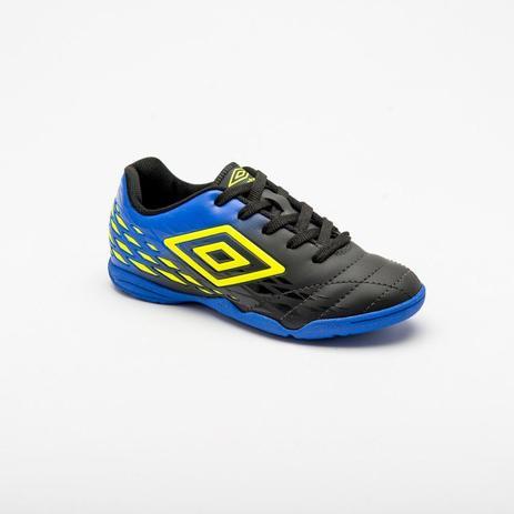 f21c4d068d Chuteira Futsal Umbro Fifty II Infantil - Preto Azul Limão - Tênis ...