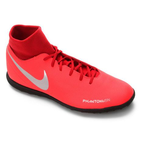 fb60cf584c872 Chuteira Society Nike Phantom Vision Club DF TF - Vermelho e Prata ...