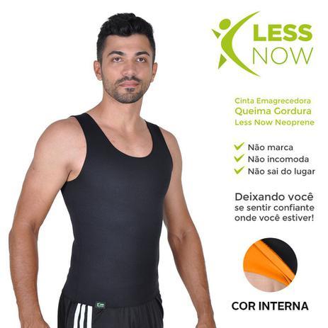 7254a623aa Cinta Emagrecedora MASCULINA Queima Gordura Less Now T-shirt Laranja com  Preta