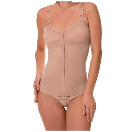 Imagem de Cinta Modeladora Pos Cirurgia Plastica Body com Alça e Colchetes Frontal Bege New Form