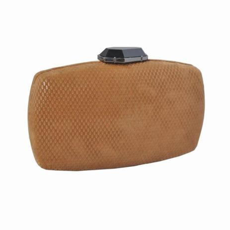 4cfc600ab Clutch Arredondada Textura Nobuck Fecho Formas Caramelo - Zap Accessories