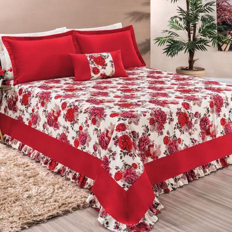 99e45adc45 Menor preço em Cobre Leito Casal Queen Riviera Tecido Percal Estampado  Florido 5 Peças - Vermelho