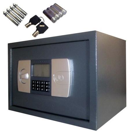 Imagem de Cofre eletronico digital display lcd em aço , chave reserva, chumbadores e suporte de parede