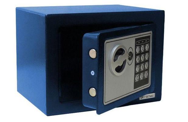 Imagem de Cofre Eletrônico Digital Pequeno (17x23x17cm) Pelegrin CH-17EF Em Aço Azul