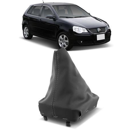 Imagem de Coifa de Câmbio sem Manopla Polo Hatch Sedan 2002 a 2014 Preta Couro Ecológico Grafite com Base