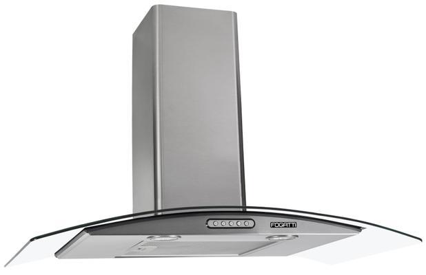 Imagem de Coifa Depurador de Parede Vidro Curvo Inox Cozinha Para Fogão de 4 à 6 Bocas 80cm - Fogatti