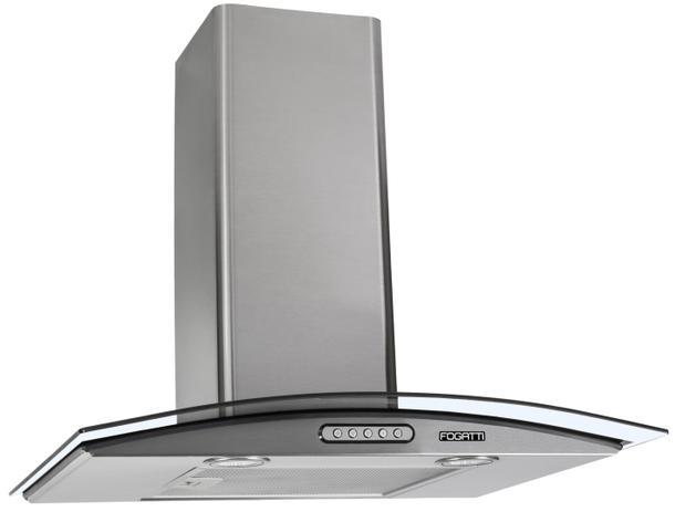 Imagem de Coifa Depurador de Parede Vidro Curvo Inox Cozinha Para Fogão de 4 e 5 Bocas 60cm - Fogatti
