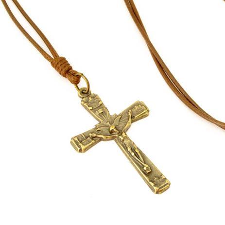 Colar Cordão Crucifixo Cruz com Cristo Ouro Velho Marrom - Youser acessórios 0a6a4ae999