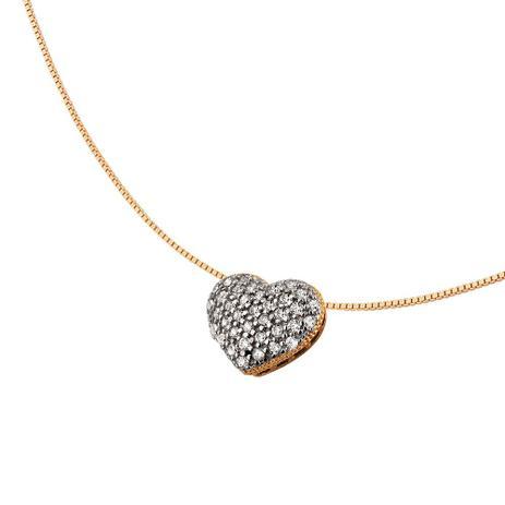 Colar de Coração Branco em Ouro 18k - Joia em casa - Colar e ... c3641da7f0