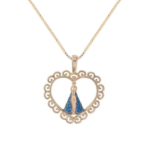 Colar de Coração Nossa Senhora Aparecida Azul - Drusi - Colar ... 30496e7352