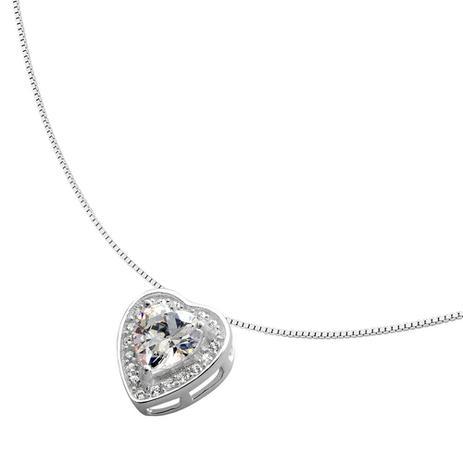 c6b4ca5485c67 Colar de Prata Coração com Pedra - Joia em casa - Colar - Magazine Luiza
