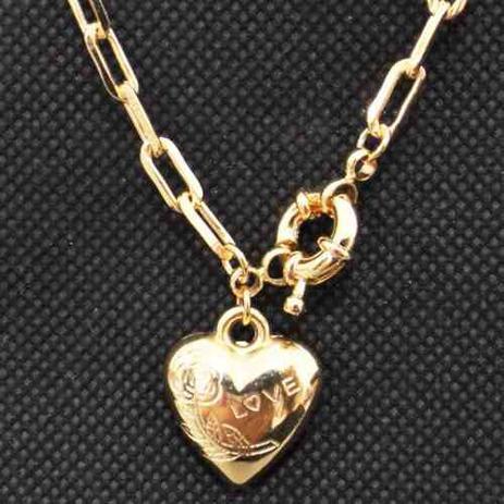 a97a89adc Colar Gargantilha Feminino 40cm Coração Fecho Bóia Tudo Folheado á Ouro -  Gabriela costa semi jóias