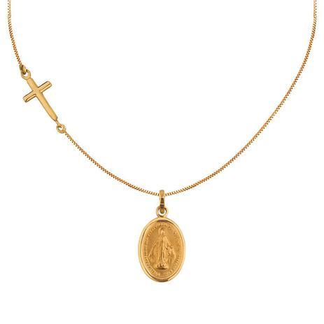 Colar Nossa Senhora das Graças em Ouro 18k - Joia em casa - Colar ... 403c740460