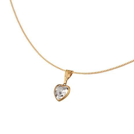 Colar Ponto de Luz com Coração em Ouro 18k - Joia em casa - Colar ... 74242648a1