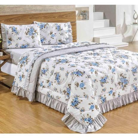 9f44b355ae Menor preço em Colcha Casal Queen Veneza 05 Peças Dupla Face Com Lençol -  Azul -