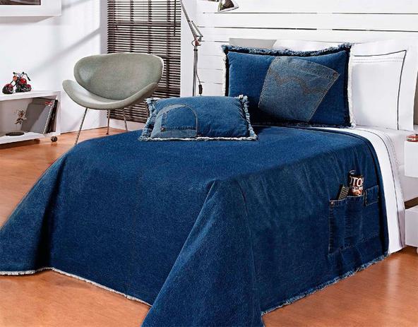 2fe6e61799 Colcha   Cobre Leito Cama Solteiro Azul escuro Algodão com 4 peças -  CobreLeito Street - Bernadete casa