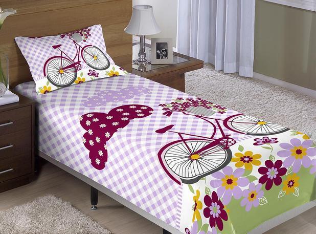 Edredon Bicicleta.Colcha Cobre Leito Cama Solteiro Bicicleta Com Flores Menina Com 2 Pecas Aquarela