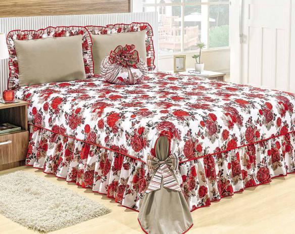 6f342be775 Colcha Queen Amarilis Vermelho Floral com 5 peças - Valle enxovais ...