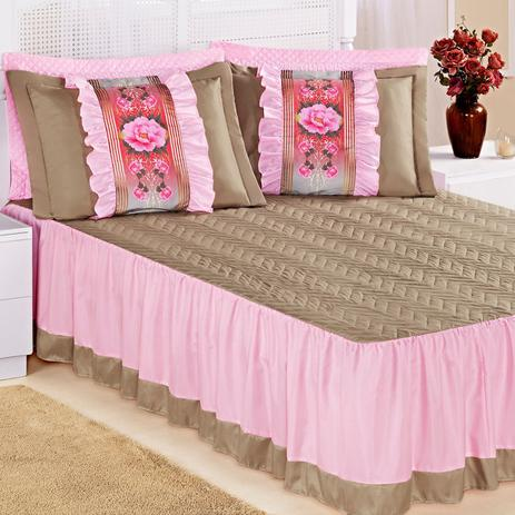 6e0d238c9e Colcha Rosa Casal Padrão Bia Cáqui   Rosa com Refil 5 Peças - Aquarela  enxovais