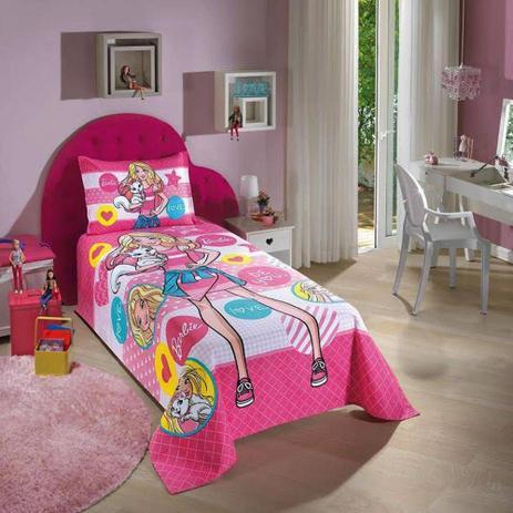92513cf2e3 Colcha Solteiro Barbie 1 Peça 100 Algodão Doh - Dohler - Cobre-Leito ...