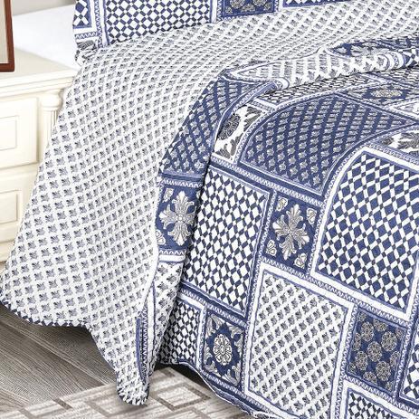 08fe41a29f Colcha Solteiro Evolution Azul Marinho e Branca (160x230) - Camesa ...