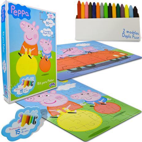 Colecao Com 2 Quebra Cabecas De 30 Pecas Para Pintar Peppa Pig
