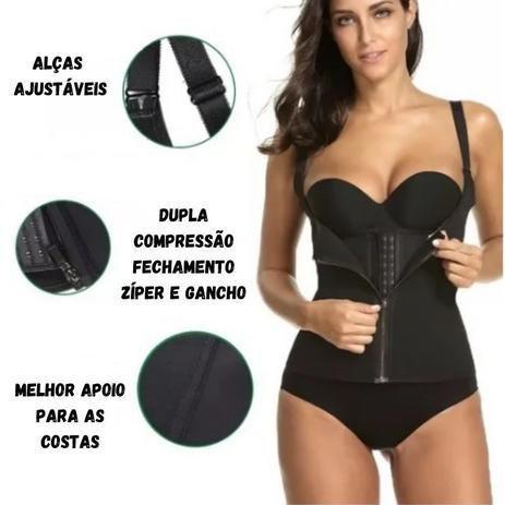 Imagem de Colete Cinta Alça Ajustável Modeladora Cintura Dupla Compressão Zíper Colchete